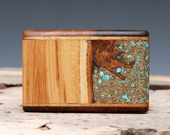 SALE: Exotic Wood, Brass and Turquoise Inlaid Belt Buckle - Handmade