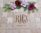 70 pieces Custom Made Wedding Guest Book Puzzle with Mixed wood grain pieces