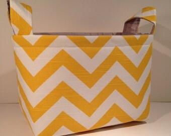 Fabric Storage Basket Organizer Bin Storage Container- Corn Yellow Chevron Zig Zag Stripe with Solid Light Gray Interior