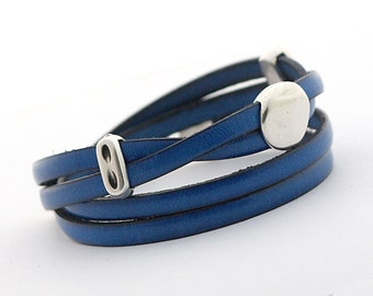 Leather Bracelet, Navy Blue Leather Wrap Bracelet, Wrap Bracelet, Royal Blue Men's Jewelry, Leather Cuff for Men, gift for her, double wrap