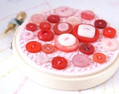 VALENTINE CUPCAKE Button Embroidery Hoop Art In Pink Red And Cream Colors Mini Sized