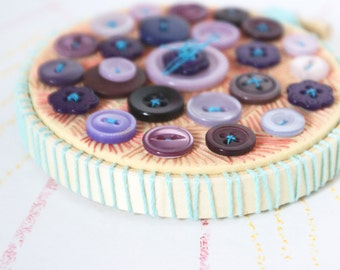CANDIED VIOLETS CUPCAKE Button Embroidery Textile Art in Violet Purple Lilac Eggplant Colors Mini Sized