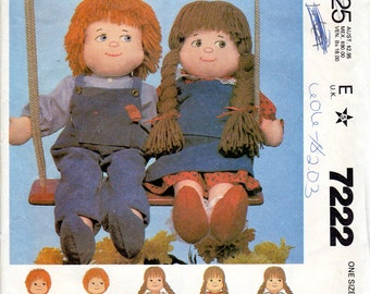 "Boy & Girl Doll and Clothes Pattern- 22"" tall- McCall's 7222"