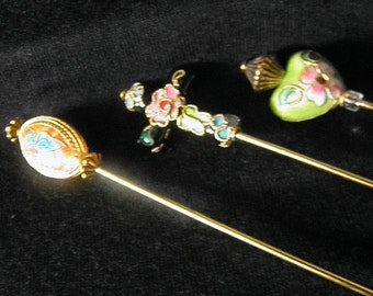 Lovely Cloisonne Hatpin Trio