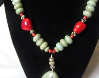 Green Turquoise And Red Coral Necklace With Sterling Silver Beads