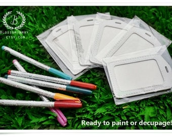 Ready for paint or decoupage - White ID badge card holder