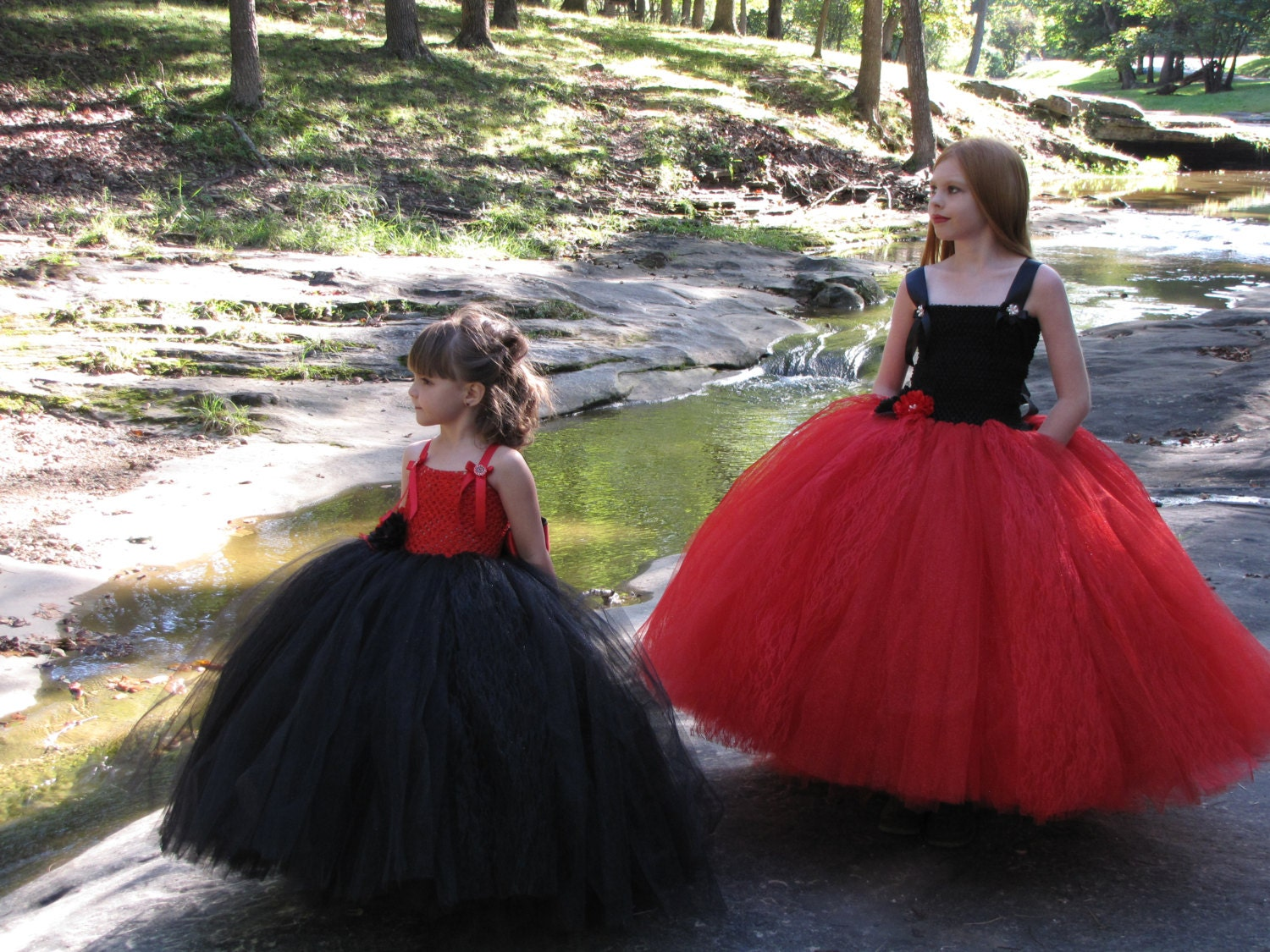 Girls red and black Tulle flower girl dress girls lace and