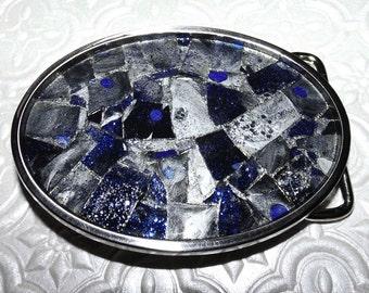 Smoked Cobalt Blue Shattered Mosaic Glass Belt Buckle