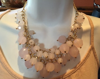 Opaque whitish pink chunky necklace, bracelet and earrings set in gold tone metal