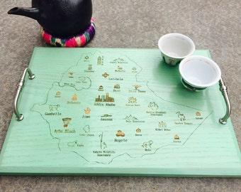 Ethiopian Coffee Ceremony Serving Tray, Ethiopia Map, Addis Ababa, Habesha, Buna, Jabena, Melkam Gena, Timket, Addis Amet, Haile Selassie