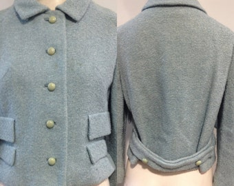 Blue Wool Boucle Jacket