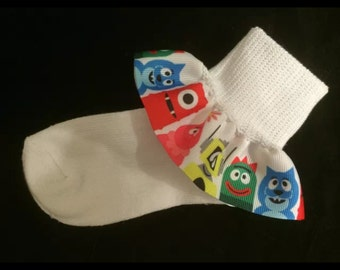 Super cute Yo Gabba Gabba Ruffle Socks with option to add Bows