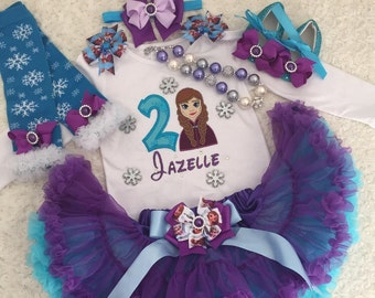3-pcs set Frozen Ana inspired birthday outfit-include super fluffy skirt, personalised top and headband