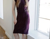 Beatiful Deep Purple Knit Work/Party/Date Dress with Copper/Gold Metallic Designs and Cut out Lace