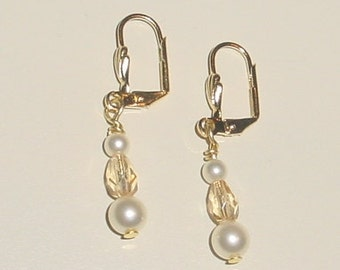 Swarovski Pearl Earrings Antiqued Gold Plated Leverback  - e-21 Ready to Ship
