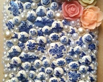 Iphone6 plus: Swarovski Pearl Delft Blue & White case