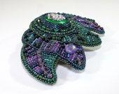 Beaded barrette - Green barrette - Purple barrette - Bead embroidered barrette - Green hair clip