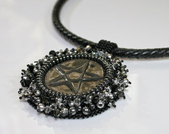 Pentagram necklace - Black necklace - Bead embroidered necklace