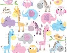 Baby Animals Clipart DIY Baby Shower Pastel Cute Elephant Giraffe Owl Bird Rhino Zebra Clip Art Illustrations Instant Download 10421