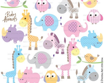Baby Animals Clipart - Free Commercial Use Cute Clipart featuring Elephant, Giraffe, Owl, Bird, Rhino and Zebra 10421