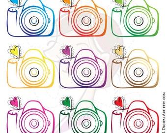 Photography Camera Clipart Photographer Clip Art DIY Business Logo VECTOR Design Elements Scrapbook Craft Supplies Commercial Use Png 10208
