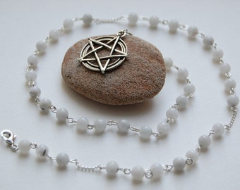 Full Moon Magic. Moonstone Witches' Ladder/Prayer Beads/Necklace. Pagan Druid Wicca Witch Goddess Diana Selena Hecate Esbat Pentacle.