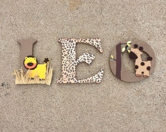 Safaril Letters, Safari Wooden Letters, Safari Nursery Decor, Safari Wood Initials, Safari Bedroom Decor, Safari Nursery Decor