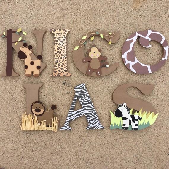 Letras de madera de safari animales woodel letras safari for Letras decoracion metal