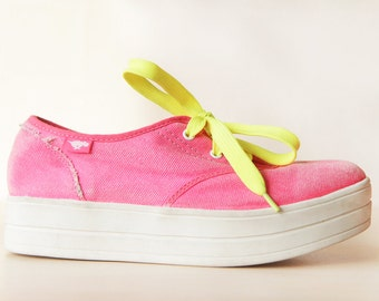 Neon pink yellow white platform sneakers creepers shoes Size 8