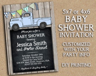 Vintage Style Truck - Customized Baby Shower Invitation Printable - Old Blue Truck, Bunting, Rustic Barnwood Country Themed Party