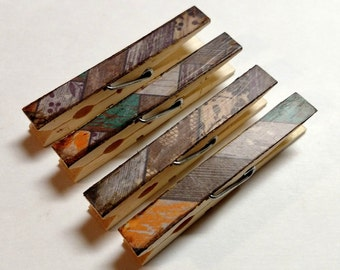 Weathered wood decoupage clothespins set of 10 Brown Patchwork chipped look