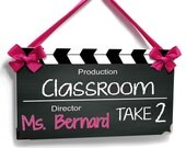 personalized teacher name class door plaque - Hollywood theme with chalkboard inspired classroom decor - P2228