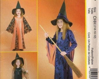 McCall's Costume Sewing Pattern P237 (aka M4620) - Children's and Girls' Witch Costumes (3-6, 7-12, 12-16)