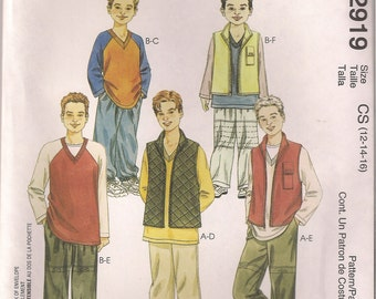 McCall's Sewing Pattern 2919 - Children's and Boys' Vest, Top, Pants (12-16)