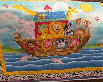 Noah's Ark baby quilt, cute, Handmade