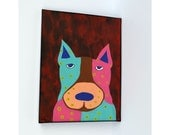 Whimsical Dog Art, Folk Art, Colorful Dog Painting, 8 by 10 Painting, Dog Lover, Eco-friendly Artwork, Recycled Paper Art, Chipboard Art