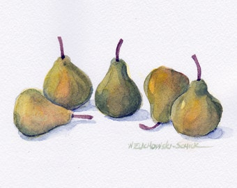 Group of Five Pears Original Watercolor Painting