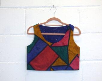 Vintage Colour Block Print Crop Top
