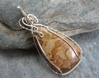 Picture Jasper Pendant, Wire Wrapped Jasper Necklace, Shiny Silver, Teardrop Gemstone Cabochon,  Gemstone Jewelry, READY To SHIP