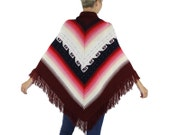 Sunset Poncho - Collared CLOAK CAPE HIPPIE 1970s 70s Tribal Native Fringe Festival Caplet Red Pink Navy Fall Outerwear Vintage Knit Shawl