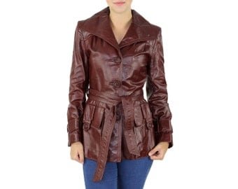 Trench Leather Jacket - Retro Style Auburn Brown LEATHER COAT JACKET Vintage Trench Cape Collar 1980s Fitted Cut Oversized Pockets Small S