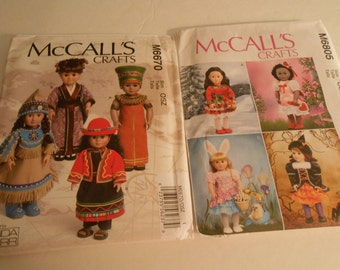 McCall's 6670  6805 doll pattern 18 inch American Girl size costume