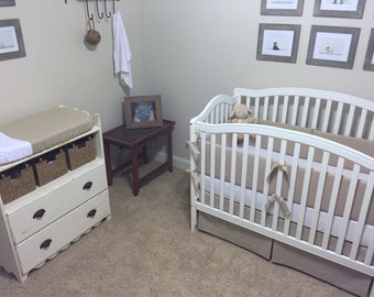 Natural LINEN Crib Skirt, Bumper, and Changing Pad Cover Set- Restoration Hardware Inspired- Choose Your Own Colors