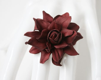 Dark red (2) leather rose flower ring