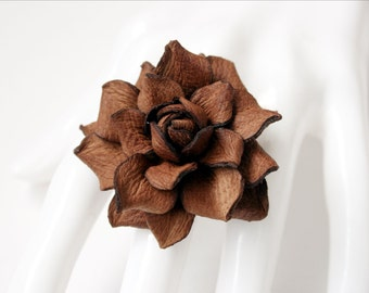 Brown leather rose flower ring