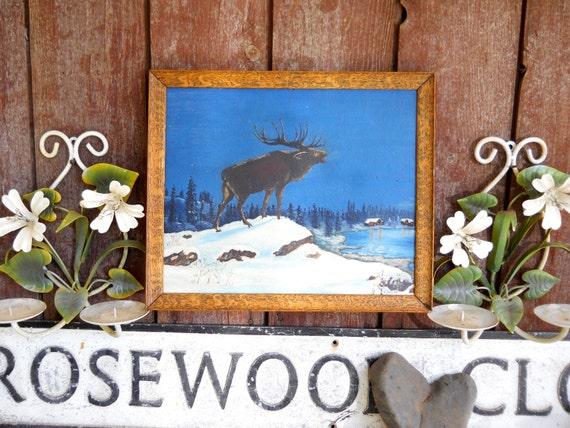 Alaska Winter Solstice Antique Vintage 1930s Signed Landscape Painting Caribou Elk Mating Call Cabin Folk Art Oil Painting Oak Frame