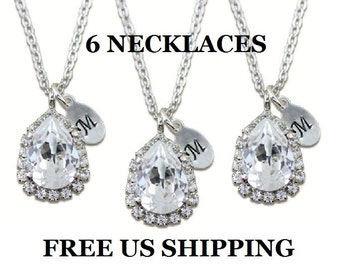 """Personalized Bridal Party Gift Set of 6 Crystal Necklaces Initial Mongogram Necklace Silver Necklace Bridesmaid Jewelry Swarovski 16-18"""""""