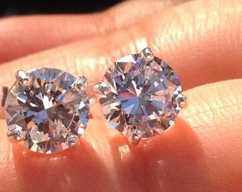 8mm Brilliant Cut Russian Ice on Fire Diamond CZ  Cut Earrings Solid 925 Sterling Silver Post Earrings Cubic Zirconia Stud Earrings