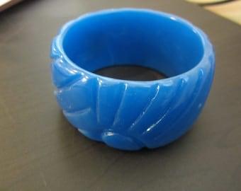 Gorgeous Blue Carved Vintage Bangle