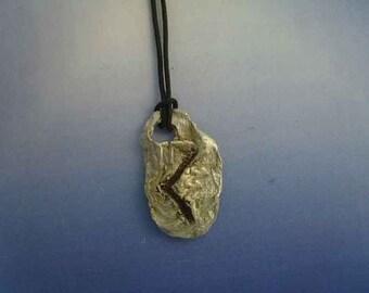 rune viking Kenaz Kauna Kaun Ken sterling silver 925 pendant escandinavian charm necklace amulet